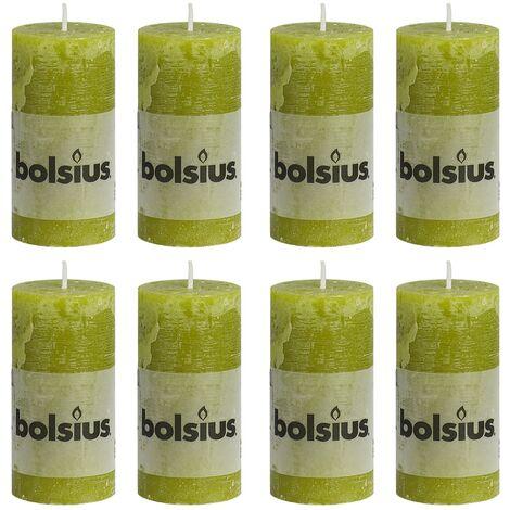 Bolsius Rustic Pillar Candles 8 pcs 100x50 mm Moss Green