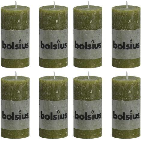 Bolsius Rustic Pillar Candles 8 pcs 100x50 mm Olive - Green