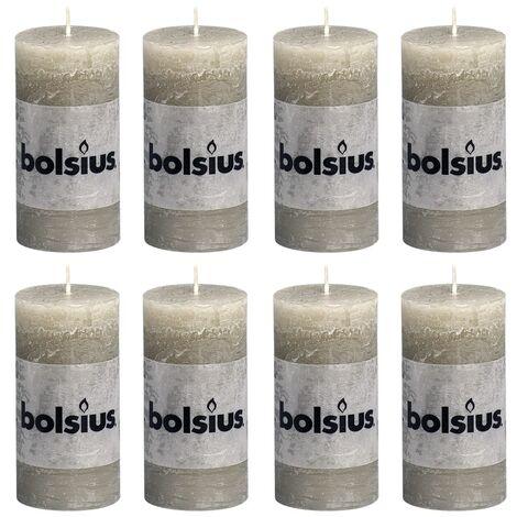 Bolsius Rustic Pillar Candles 8 pcs 100x50 mm Slate Grey - Grey