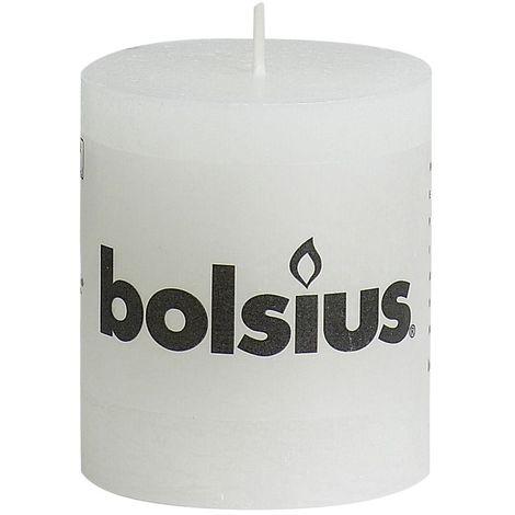 Bolsius Rustik Stumpenkerze weiß, Höhe 8 cm, Ø 6,8 cm