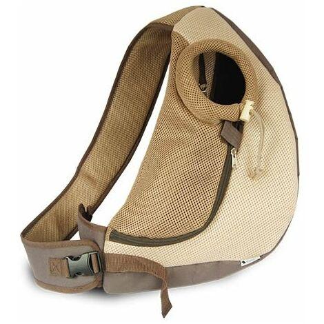 Bolso bandolera Moka para perros y gatos pequeños, ideal para pasear, Medidas: 50 x 18 x 29 cm.