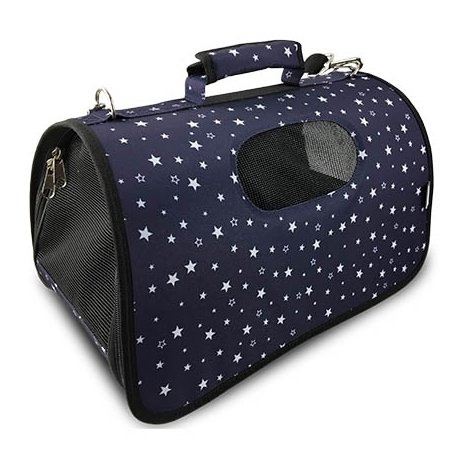 Bolso para transportar a perro o gato, medidas 43 x 25 x 25 cm. color azul con estampado de estrellas blancas