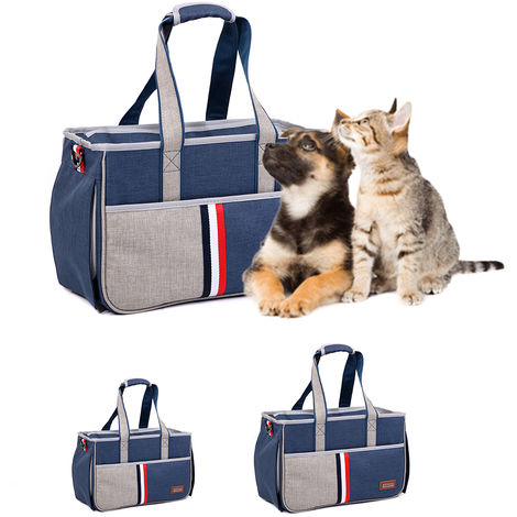 Bolso de mano para perro gato, azul oscuro, S
