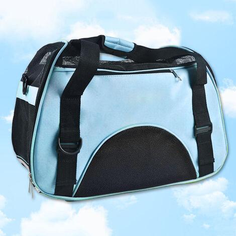 bolso del animal domestico a cabo la realizacion del bolso del gato mascota conejo perro mascota mochila portatil bolsa de viaje bolsa de peluche caniche azul pequena, azul, S