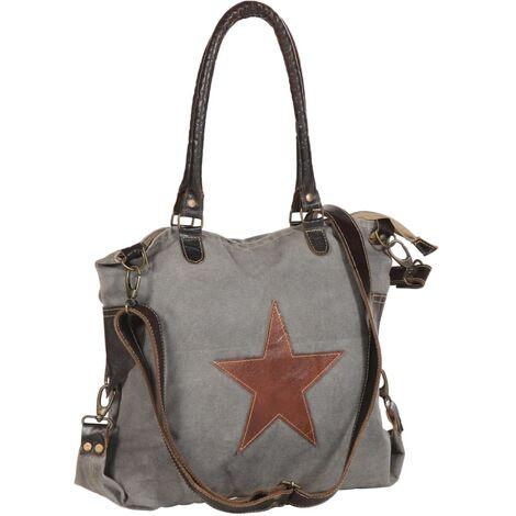 Bolso estilo shopper gris oscuro 41x63 cm lona y cuero real