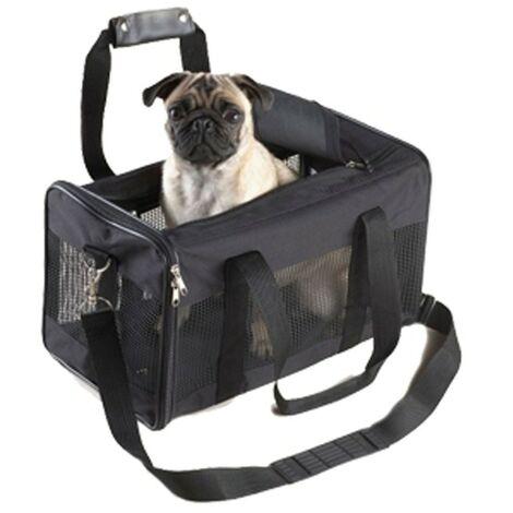 Bolso transportin negro para mascotas | Transportin de viaje | Transportin de nailon con rejilla