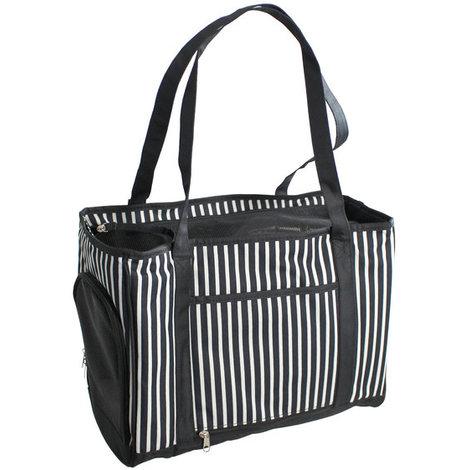 Bolso transportin para perros y gatos Yatek con malla protectora interior y apertura lateral de color blanco y negro