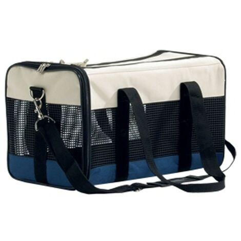 Bolso transportin tricolor para mascotas | Transportin de viaje | Transportin de nailon con rejilla