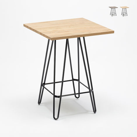 BOLT High Table Metal Steel Frame Wood Top Industrial Style 60x60 Bars Dining Room