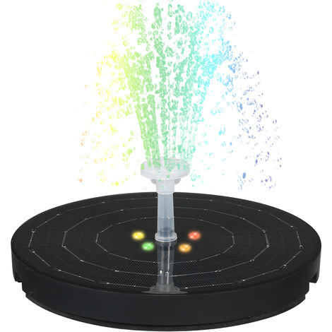 Bomba de agua de 190 mm de diametro grande de 3,8 W, fuente solar, con luz de respiracion colorida de noche, 8 boquillas