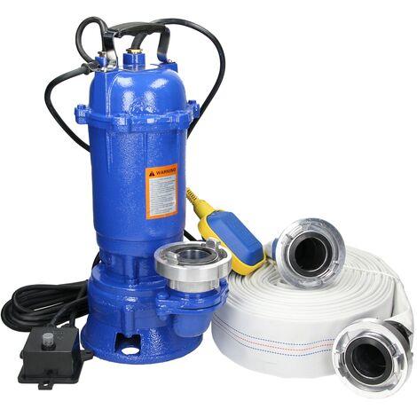 Bomba de agua sumergible 1500W alta presión flotador+acomplamiento manguera 20m