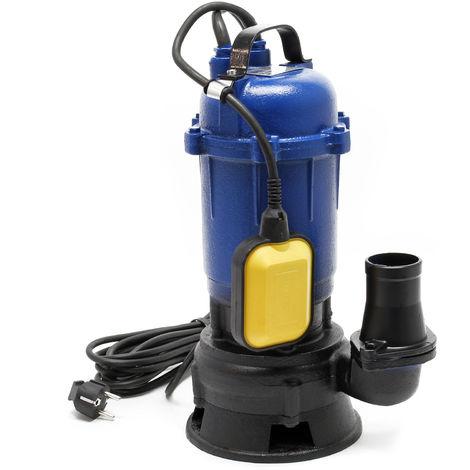 Bomba de aguas residuales 750W, caudal 14.000l/h, máx. altura 12m, para aguas sucias con partículas