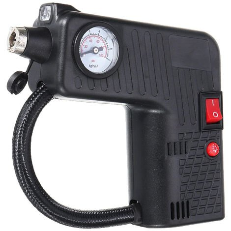 Bomba de aire del coche 12V de aire del neumatico del compresor con manometro portatil bomba de aire electrica de la energia con la luz del flash martillo de la seguridad para el automovil bici de la motocicleta del coche