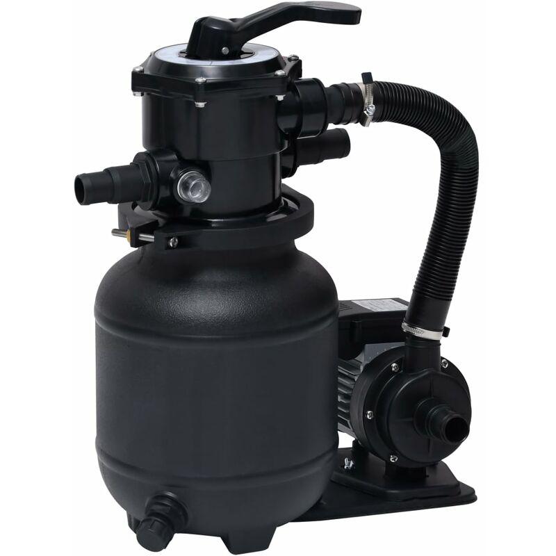 Bomba de filtro de arena piscina con válvula 7 posiciones 18L - Negro