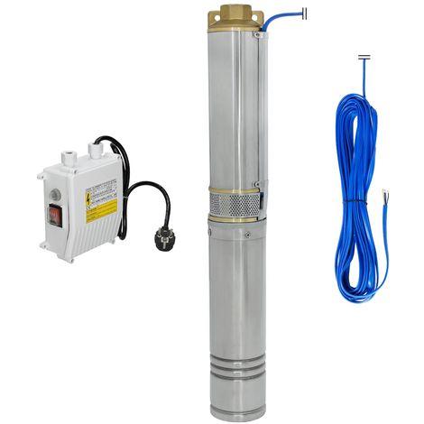 Bomba fuente 750 W profundo para agua irrigación acero electrobomba sumergible