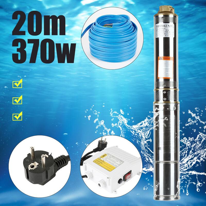 Bomba para pozos profundos Bomba sumergible Electrobomba 4'' 370 W 20M Línea azul con caja de control - Bomba de pozo | bomba de agua