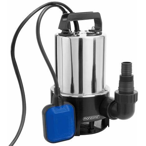 Bomba sumergible de acero inoxidable para aguas residuales sucias 11500 l/h 550 W Conector universal interruptor de flotador