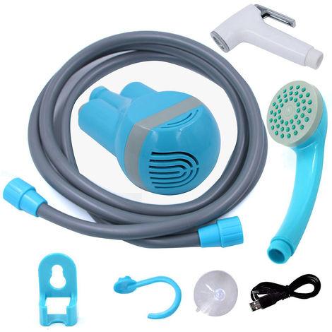 Bombas con cabezal de ducha USB, con 2 boquillas, para viajes de campamento