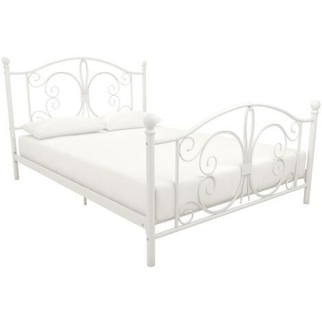 Bombay White Metal Bed 4ft6 Double 135 x 190 cm By Dorel