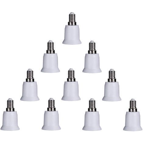 Bombilla 10PCS, E14 a E26 Adaptador E27 adaptador convertidor ligero del zocalo E12 a E26 E27 Socket Medio convertidor
