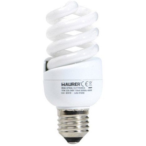 Bombilla ahorro miniespiral fluorescente e27 - 15w=75w luz cálida