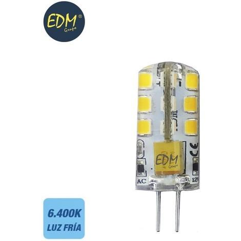 Bombilla Bi-pin 12V led 2W 180 Lm 6000K Luz Fría serie silicona EDM