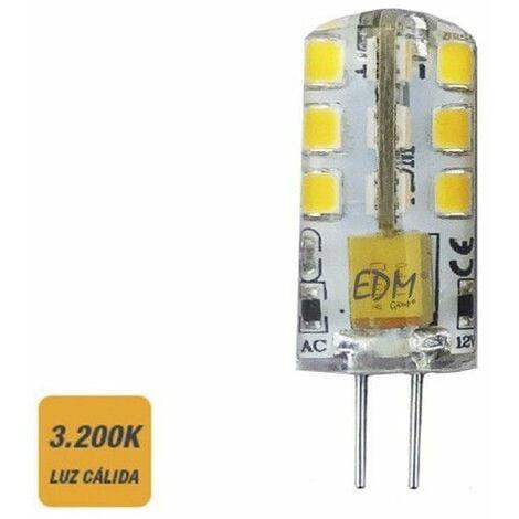 Bombilla bi-pin 12v led 2w 180 lumens 3200k luz calida serie silicona EDM 98913