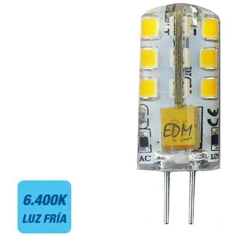 Bombilla bi-pin 12v led 2w 180 lumens 6400k luz fria serie silicona EDM 98912