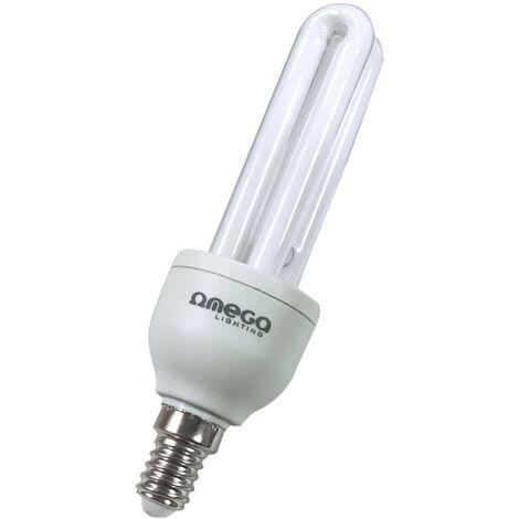 Bombilla de bajo consumo OMEGA 11Watt Luz cálida 2700k E14 de 2 Tubos