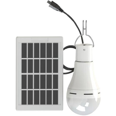 Bombilla de energia con energia solar, brillo ajustable de 3 niveles, con diseno de gancho para colgar