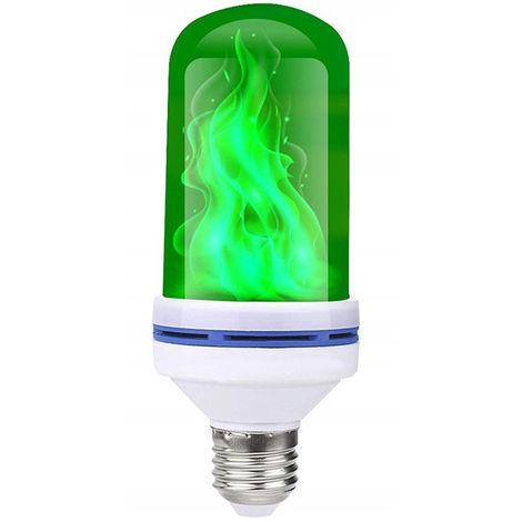 Bombilla de fuego de efecto de llama AC85-265V 6W, E27, verde