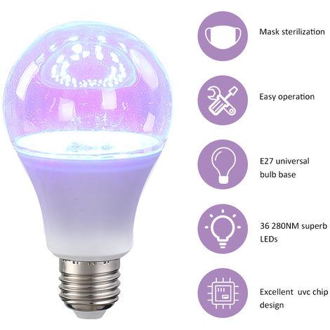 Bombilla de lampara UV 280NM, E27, AC220-265V 9W 36 LED