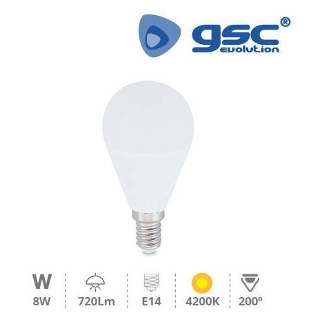 Bombilla de led esferica 8W E14 4200K GSC 002004887