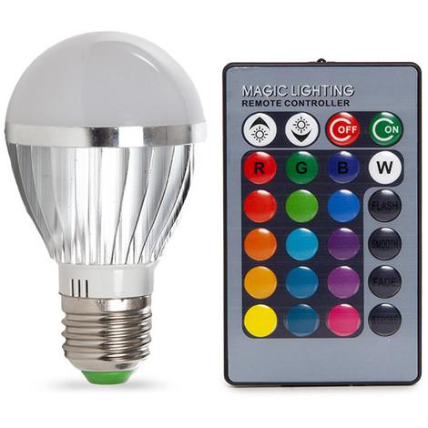 Bombilla de LEDs RGB 3W E27 Esférica Mando a Distancia   RGB (KD-105E273W)