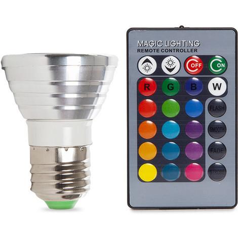 Bombilla de LEDs RGB 3W E27 Mando a Distancia | RGB (PL187220-E27)