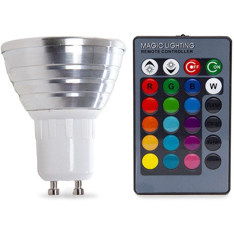 Bombilla de LEDs RGB 3W GU10 Mando a Distancia | RGB (PL187220-GU10)