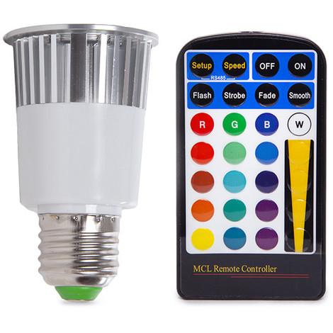Bombilla de LEDs RGB 5W E27 Mando a Distancia   RGB (PL187221-E27)