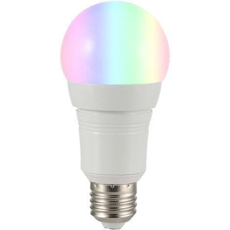 Bombilla de luz inteligente Wi-Fi, control remoto inalambrico Soporte de Control de APP, 7W, E27, redonda, blanca