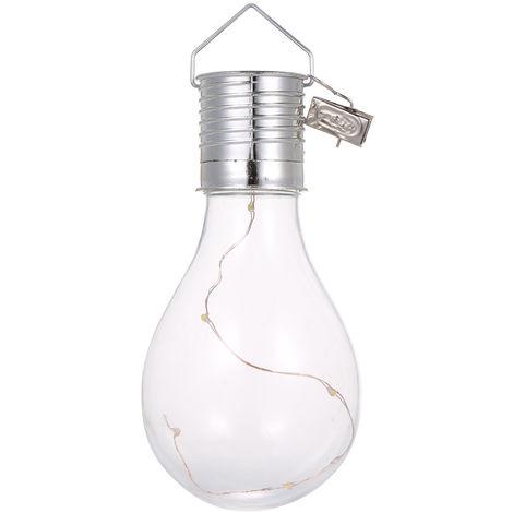 Bombilla de luz solar, Lampara colgante LED,4 luces, blanco calido, carcasa azul