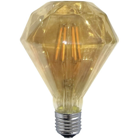 BOMBILLA DECORATIVA LED DIAMANTE COLOR ÁMBAR E27 6W