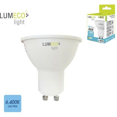 Bombilla dicroica gu10 smd led 5w 450 lumens luz fria 6.400k apertura 120º lumeco
