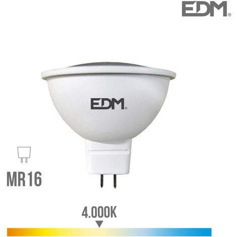 Bombilla dicroica MR16 12V SMD 5W 450Lm 4.000K apertura 120º EDM