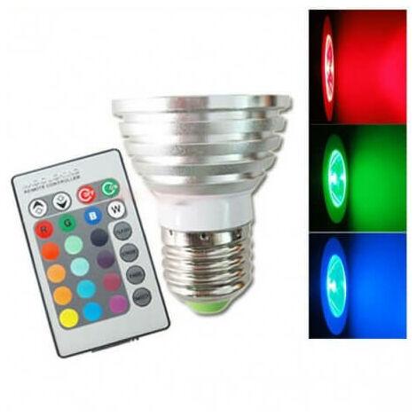 Bombilla E27 3w RGB LED color con control remoto