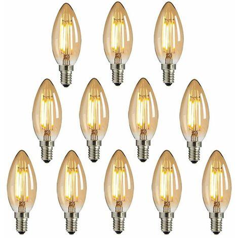 Bombilla Edison E14, nuodi Fan 6 x Bombilla de lámpara pequeña vintage Vela LED Vidrio ámbar antiguo) Retro decorativo (Blanco 4 W 2700 K Bombilla Ideal para candelabro, Lámpara colgante de cristal y Leuchten [Clase energética A +]