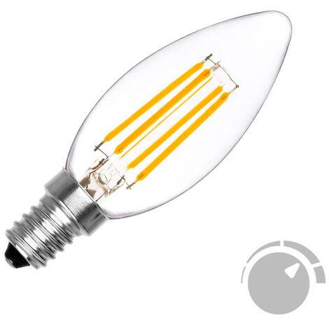 Bombilla Filamento LED Vela E14 COB 4W, Regulable