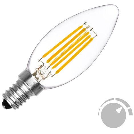 Bombilla Filamento LED Vela E14 COB 6W, Regulable, Blanco cálido 2700K, regulable - Blanco cálido 2700K