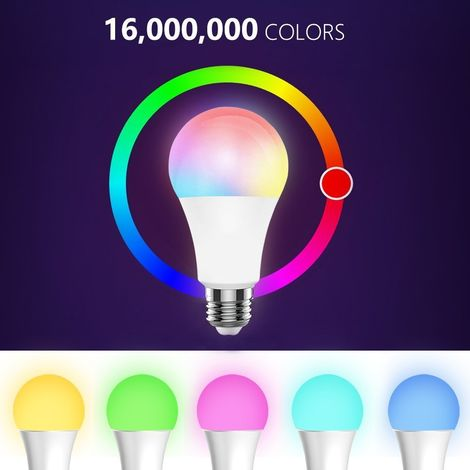 Bombilla inteligente Bombilla de luz LED RGB LED multicolor 7W E27 luz inalambrica BT regulable Luz Telefono remoto bombilla de lampara de Control, Control de BT, 7W