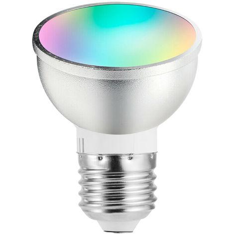 Bombilla inteligente LED WiFi, RGB + W, APP Remote, 6W E27, plateado