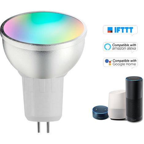 Bombilla inteligente V18 WIFI bombilla LED RGB + W LED 6W GU5.3 regulable Luz Telefono de control remoto compatible con el bulbo Alexa pagina principal de Google Voice Genie Tmall de control de luz