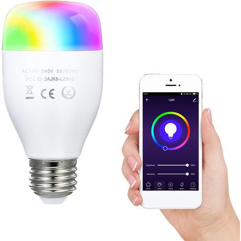 Bombilla inteligente Wi-Fi de 7 vatios, modo dual, blanco calido y RGB, E27, AC100-240V